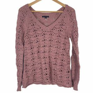 American Eagle Pink Mauve Rose Open Knit Sweater